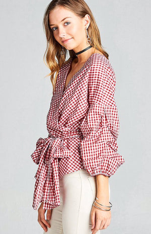Gingham Top With Surplice Tie Waist and Ruched Sleeves