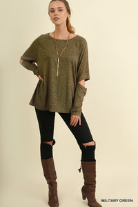 Long Sleeve Top With Sleeve Cutouts