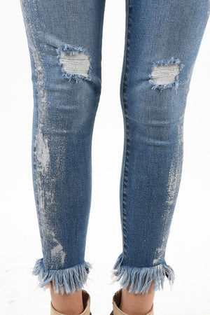 Kancan Metallic Accent Distressed Denim