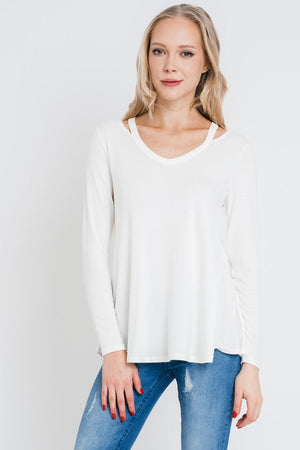 Cutout Detail Long Sleeve Loose Top