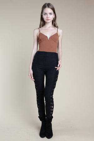 High Waisted Pants With Lace Up Detail