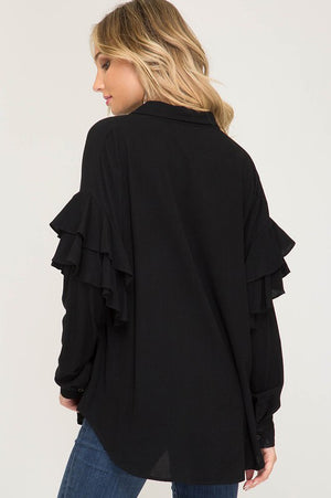 Black Ruffle Button Down