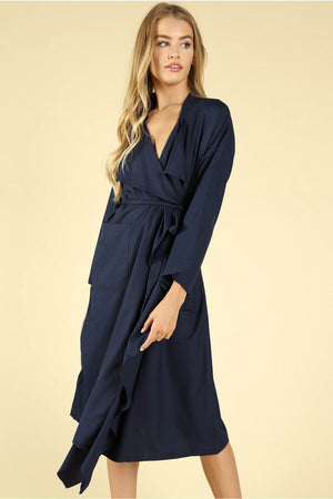 Duster Coat With Ruffle Detailing