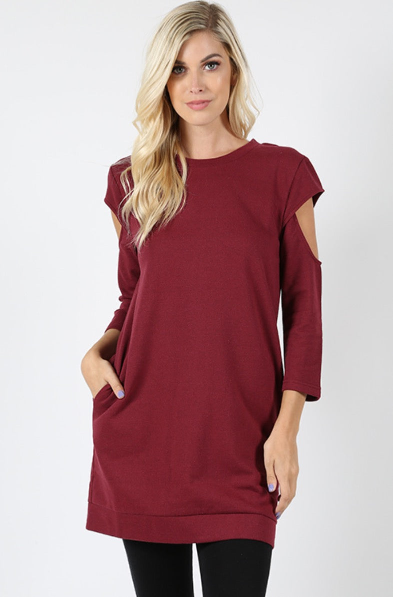 Cutout Sleeve Tunic Sweatshirt
