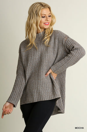 High Low Turtleneck Knit Sweater