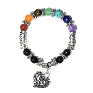 7 Chakra Stones Bracelet with Silver Heart Charm for Women, 10mm - Witchie Woo