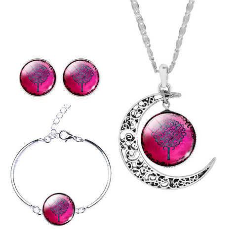 Moon Pendant Necklace, Earrings, Bracelet - Witchie Woo