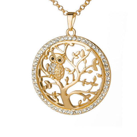 Small Owl Pendant Necklace Tree Of Life Women Rose Gold Silver Color Chain - Witchie Woo
