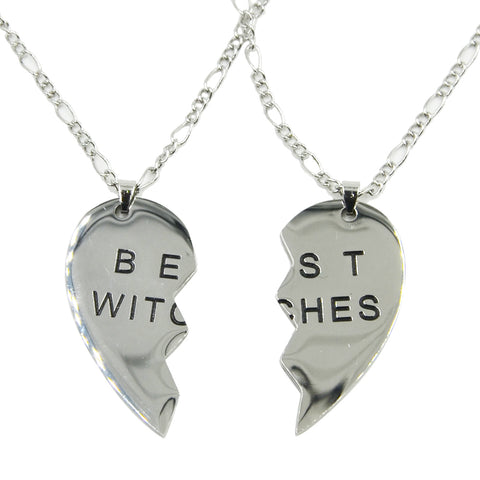 Stainless Steel Best Witches Good Friends Series Heart Shaped Necklace Pendant with 24 inch Chain - Witchie Woo