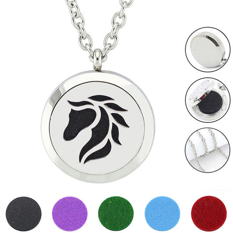 Stainless Steel Horse Aromatherapy Essential Oil Diffuser Amulet Necklace with 5 Felt Pads - Witchie Woo
