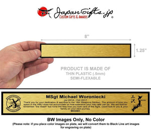 "(THIN) 1.25"" x 8"" Engraved Plate ""GOLD BRUSH"" #1"