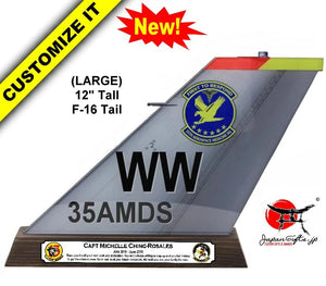 "(LARGE) 12"" Tall F-16 ""Color Imprinted Acrylic"" Tail Flash Desk Plaque #TF-F16-NB-01"