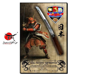 "23""H x 15""W Sword Wall Plaque ""Red Samurai - Shariki"" #21"