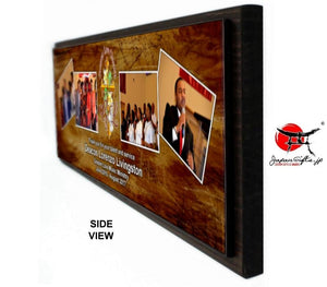 "(LARGE) 23"" x 7"" Four Photo Plaque ""CUSTOMIZED"" TEST#543"