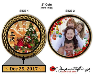 "2"" dia. Custom Color Imprinted Coin ""X-Mas & Photo"" #14"