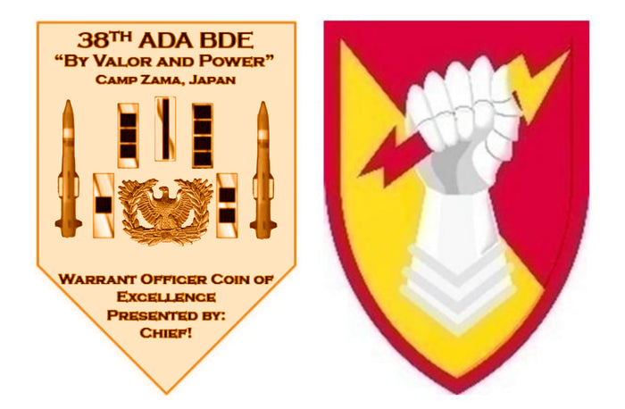 "38th ADA BDE ""CUSTOMIZED"" Camp Zama (50qty Coins) Gold Polished Plating"