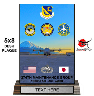 "5""W x 8""H Wood Desk Plaque ""CUSTOMIZED"" 374th MXG Awards (SNCO), Yokota"