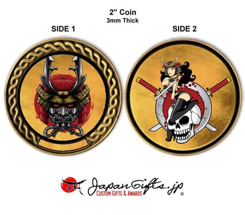 "2"" Custom Color Imprinted Coin ""Samurai & Girl Skull"" #83"