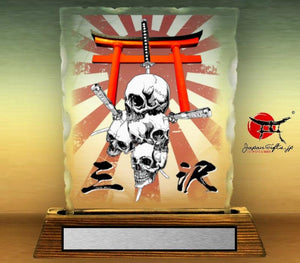 "7"" x 9"" Chipped Crystal Color Desk Plaque ""Skull Torii"" #13"