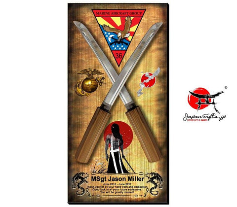 "23"" x 11"" Crossing Swords Wall Plaque #1"