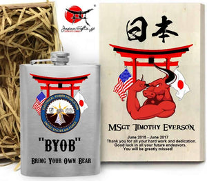 "(LARGE) 8oz Metal Hip Flask w/Box ""Torii - 35th CES"" #6129"