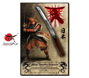 "23""H x 15""W Sword Wall Plaque ""Red Samurai"""