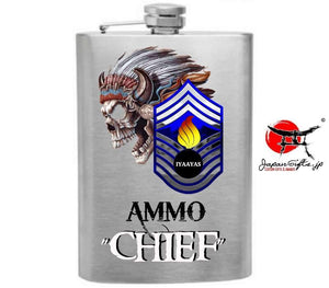 "(LARGE) 8oz Brushed Hip Flask ""AMMO Chief"" No Box #5467"