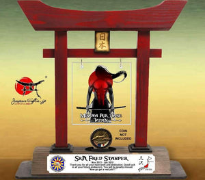 "(LARGE) 14"" Torii Gate ""Samurai-Blood"" w/Color Plate/Acrylic Center/Coin Holder #5801"