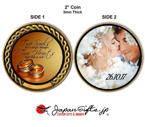 "2"" dia. Custom Color Imprinted Coin ""Wedding"" #45"