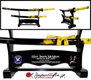 "Double Desk Sword Set -Gold Marble - Black Background ""35th AMDS"" #23"