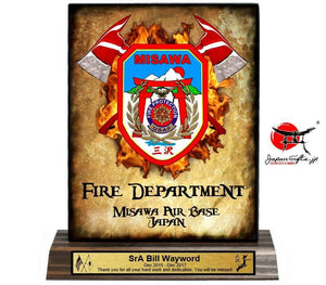 "5""W x 7""H Wood Desk Plaque ""FIRE DEPARTMENT"" #5950"