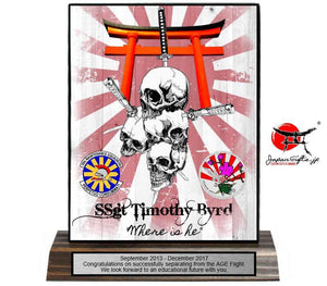 "5""W x 7""H Wood Desk Plaque ""Skull & Torii"" #5973"