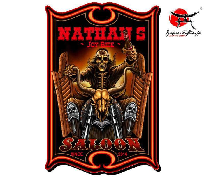 "(LARGE) 23"" x 15"" Bar Sign ""Biker from Hell - Saloon"" #6028"