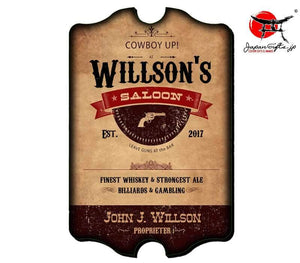 "(LARGE) 23"" x 15"" Bar Sign ""Western Saloon - Guns"" #6059"