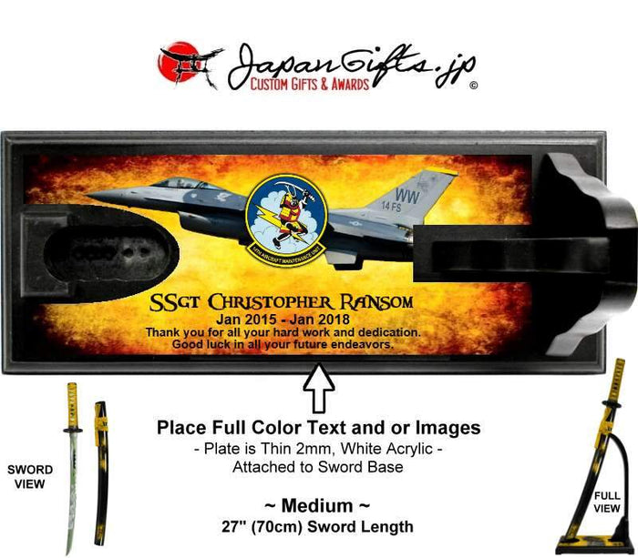 "(MEDIUM) 27"" Standing Desk Sword w/Full Color Acrylic Bottom ""CUSTOMIZED"""
