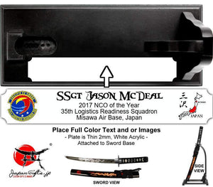 "(SMALL) Standing Desk Sword ""35th LRS Annuals"" base plate #6144"