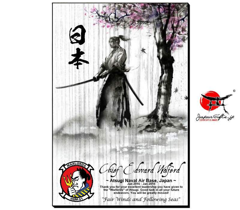 "(LARGE) Vertical 15"" x 23"" Wood Wall Plaque ""Samurai/Cherry Blossom"" #6152"