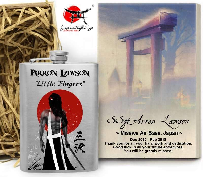 "(LARGE) 8oz Metal Hip Flask ""Samurai / Torii"" With Box #6153"