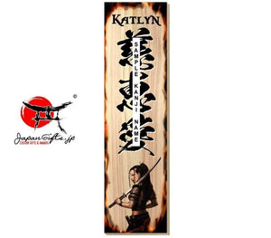 "3.3""W x 13""H Kanji Name Sign ""Samurai Girl"" #5971"