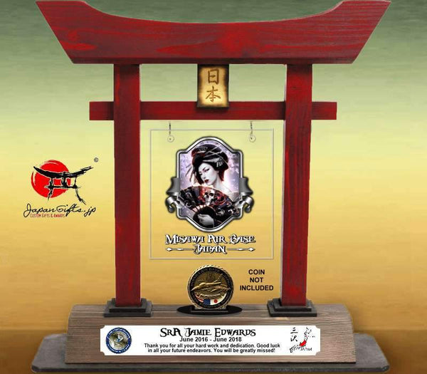 "(LARGE) 14"" Torii Gate ""Geisha"" w/Color Plate/Acrylic Center/Coin Holder #7052"