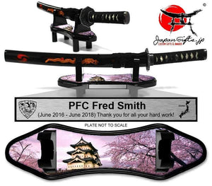 "(SMALL) Desk Sword and base ""Cherry Blossoms / Castle"" w/plate #7070"