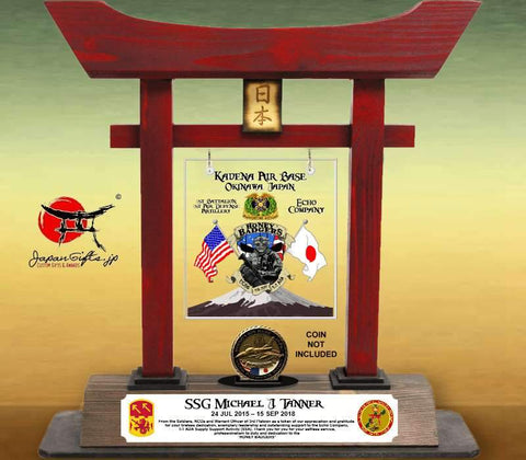"(LARGE) 14"" Torii Gate ""Okinawa/Kadena - Echo Company"" wCoin Holder #7500"