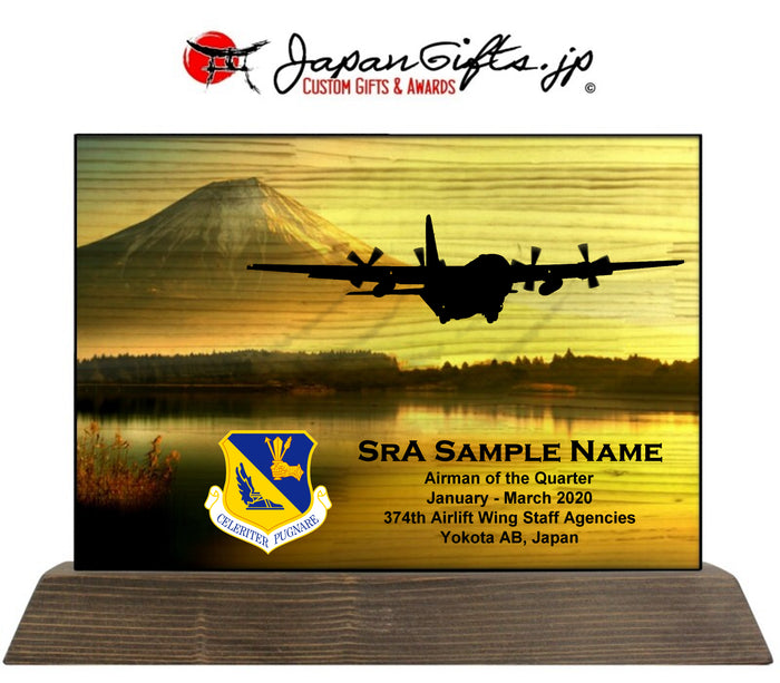 "8""x11"" Horizontal Desk Plaque ""374th WSA, Quarterly Awards 2020"" Yokota"