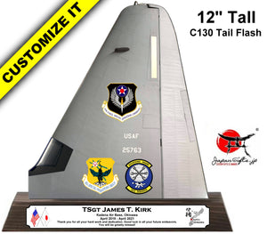 "12"" Tall Tail Flash (C-130J) ""Color Imprinted Acrylic"" Desk Plaque"