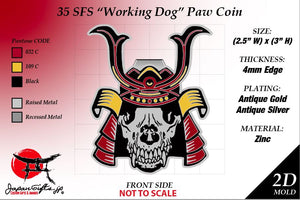 "Customized Coin ""35th SFS, Working Dog - ""DOG BONES"" coins 100qty ""CUSTOMIZED"""