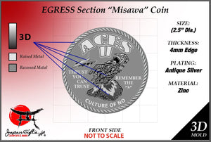 "2.5"" Dia.  Egress Misawa ""CUSTOMIZED"" Coins Order (50qty)"