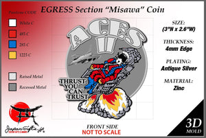 "3""H x 2.6""W Egress Ejection Section Coin ""Misawa"" 100qty"