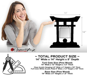 "(LARGE) 14"" Torii w/Acrylic Center/Coin Holder #T-L019-AC"