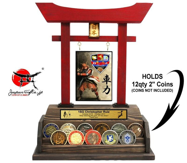 "Large Torii Gate w/Coin Rack ""Shariki"" Holds 12qty 2"" Coins"