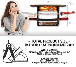 "(LARGE) Red Sword & Wall Mantel 25""W x 15""H ""CUSTOMIZED"" TEST#166"